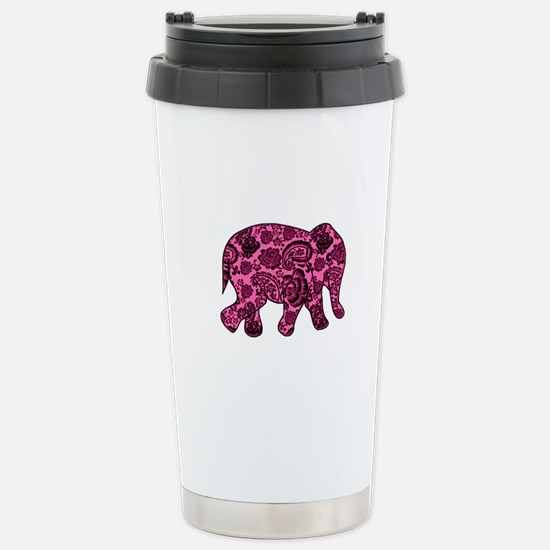 Pink Paisley Elephant Stainless Steel Travel Mug
