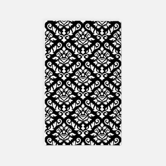 Baroque Damask Bw Pattern 3'x5' Area Rug