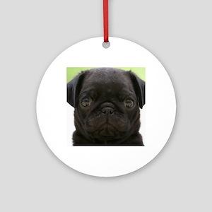 Black Pug Round Ornament