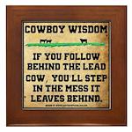 Follow The Lead Cow Framed Tile