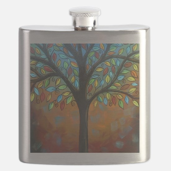 Tree of Many Colors Flask