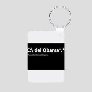delete obama *.* Aluminum Photo Keychain