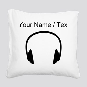 Custom Headphones Square Canvas Pillow
