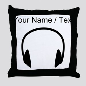 Custom Headphones Throw Pillow