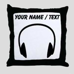 Custom Headphones Throw Pillow