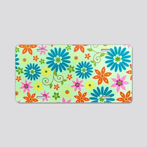 Flowers Background Aluminum License Plate