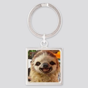 Smiling Sloth Square Keychain