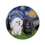 "Starry / Poodle (white) 3.5"" Button"