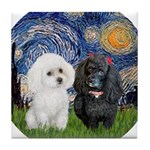 Starry / Poodle (White) Tile Coaster