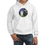 Starry / Poodle (White) Hooded Sweatshirt