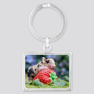 Pig and Strawberry Landscape Keychain