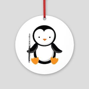 Flute Music Penguin Ornament (Round)