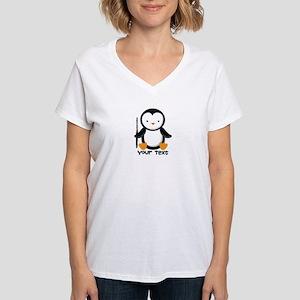 Personalized Flute Penguin Women's V-Neck T-Shirt