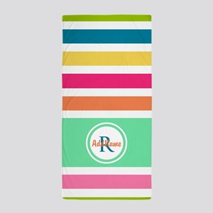 Multicolor Monogram Stripes Beach Towel
