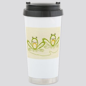 Fanciful Frogs Embroide Stainless Steel Travel Mug