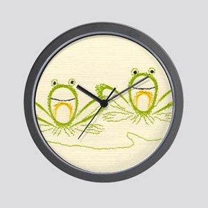 Fanciful Frogs Embroidery Wall Clock