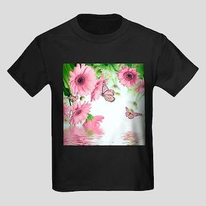 Pink Butterflies Kids Dark T-Shirt
