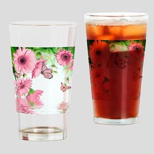 Pink Butterflies Drinking Glass