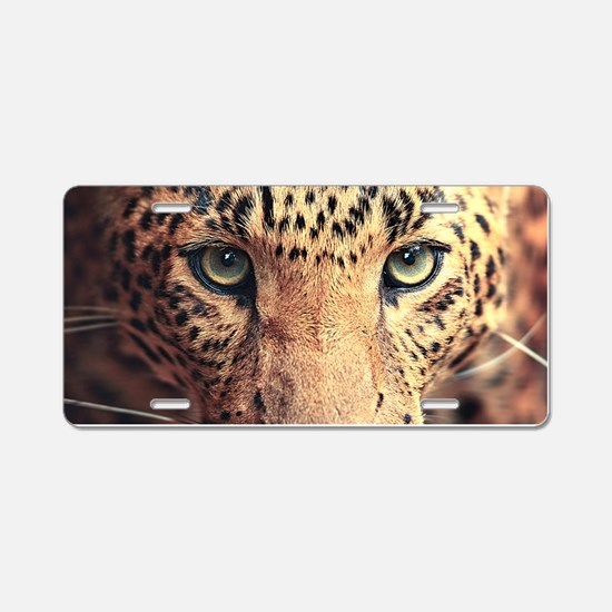 Leopard Portrait Aluminum License Plate