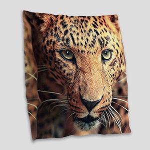 Leopard Portrait Burlap Throw Pillow