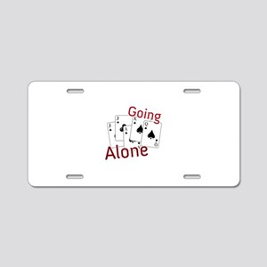 Going Alone Aluminum License Plate