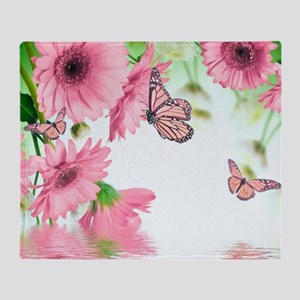 Pink Butterflies Throw Blanket