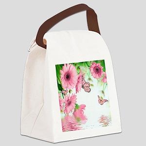 Pink Butterflies Canvas Lunch Bag
