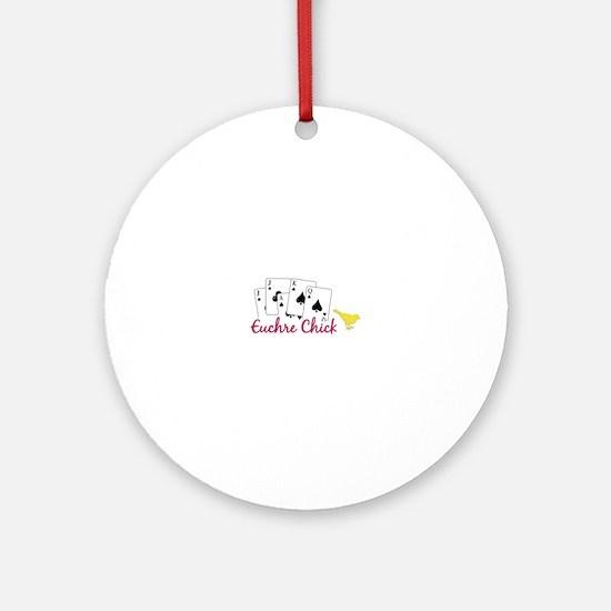 Euchre Chick Ornament (Round)