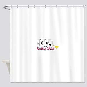 Euchre Chick Shower Curtain
