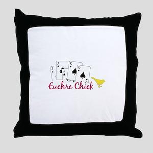 Euchre Chick Throw Pillow