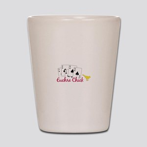 Euchre Chick Shot Glass