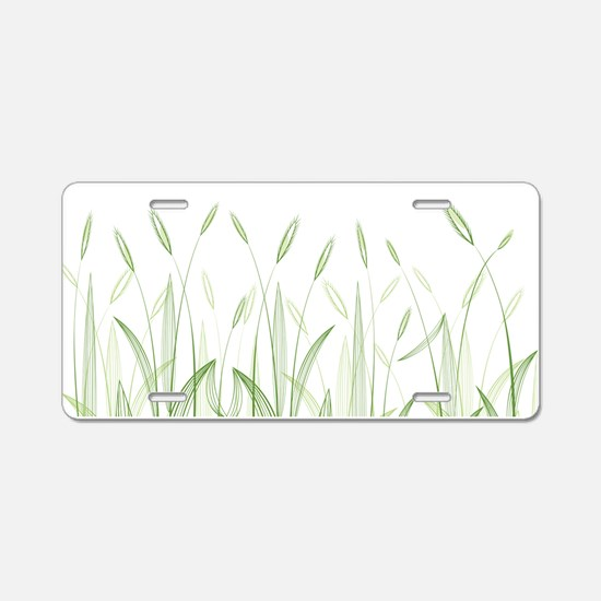 Delicate Grasses Aluminum License Plate