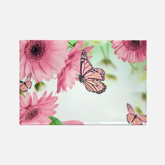 Pink Butterflies Rectangle Magnet