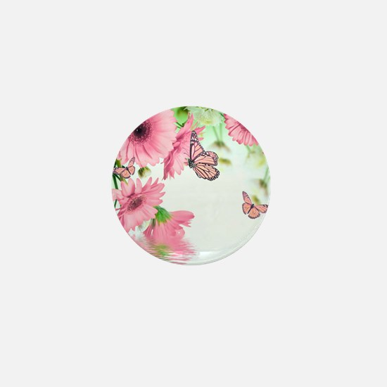 Pink Butterflies Mini Button
