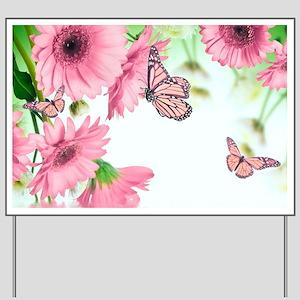 Pink Butterflies Yard Sign