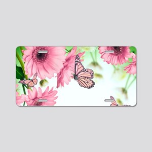 Pink Butterflies Aluminum License Plate