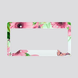 Pink Butterflies License Plate Holder