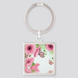 Pink Butterflies Square Keychain