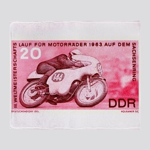 Vintage 1956 Germany Motorcycle Race Stamp Throw B
