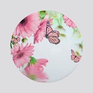 Pink Butterflies Round Ornament