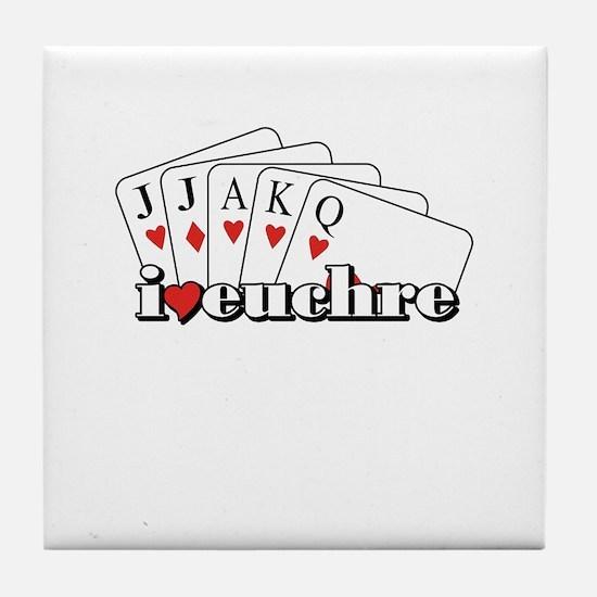 I Heart Euchre Tile Coaster