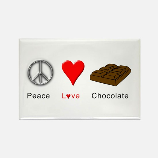 Peace Love Chocolate Rectangle Magnet (100 pack)