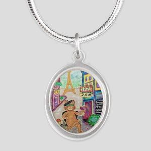 Jazz Cat Silver Oval Necklace