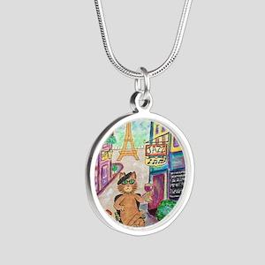Jazz Cat Silver Round Necklace