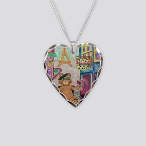 Jazz Cat Necklace Heart Charm