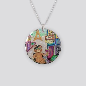 Jazz Cat Necklace Circle Charm