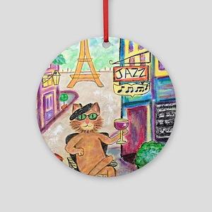 Jazz Cat Round Ornament