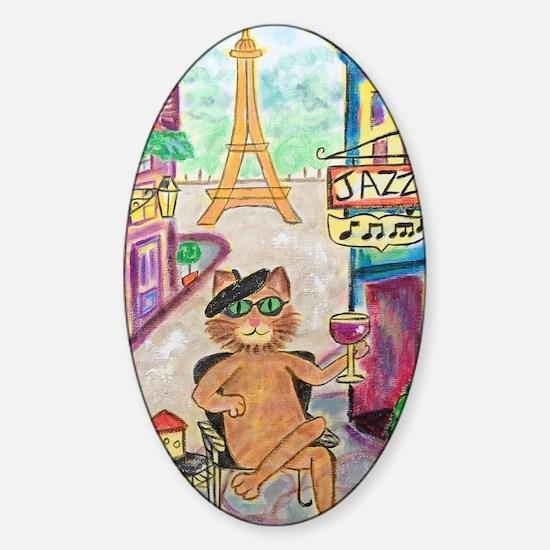 Jazz Cat Sticker (Oval)