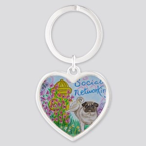 Social Networking Pug Heart Keychain