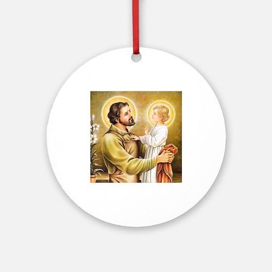Joseph & Jesus Round Ornament